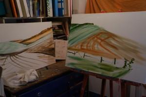 Paintings in progress by Jacqueline Hammond