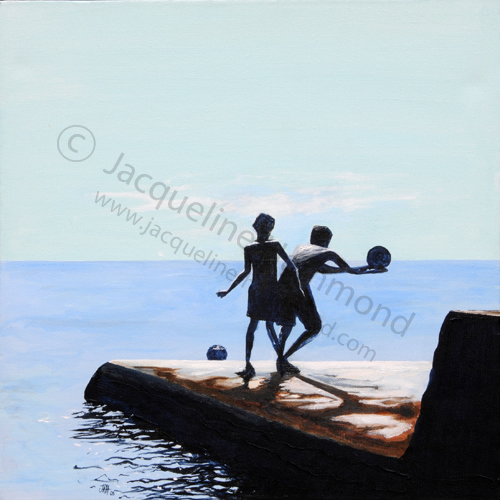 What a Catch painting by Jacqueline Hammond featured in The Sporting Life Collection on Saatchi online