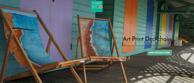 Smart Deco deckchairs featuring art by Jacqueline Hammond